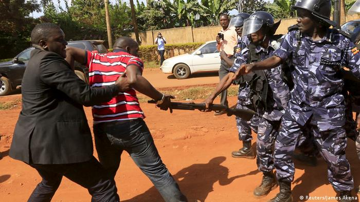 Opposition supporters clash with police REUTERS/James Akena