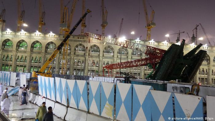 Saudi Arabien Mekka Große Moschee Kran Sturm