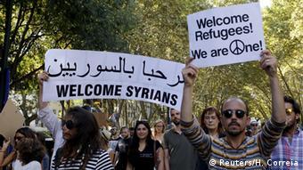 Διαδήλωση υπέρ των Σύρων προσφύγων στο κέντρο της Λισαβόνας το καλοκαίρι του 2015