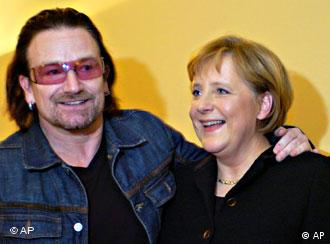 Bono and Chancellor Merkel got chummy at at the World Economic Forum in Davos, Switzerland last January