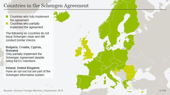 Infografik Die Staaten des Schengener Abkommens Englisch Stand September 2015