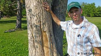 Jason Pollard, City of Ottawa Forestry Services Dept, with dead ash tree