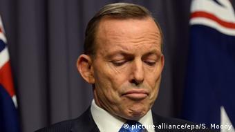 Tony Abbott looking concerned EPA/SAM MOODY