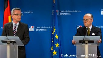 Germany's interior Minister Thomas de Maiziere and his French counterpart Bernard Cazeneuve