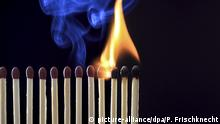 Reihe von Streichhoelzern brennt ab | row of matchsticks burning