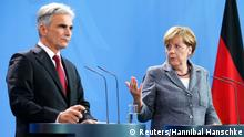 German Chancellor Angela Merkel and Austrian Chancellor Werner Faymann (L) address a news conference at the chancellery in Berlin, Germany September 15, 2015. REUTERS/Hannibal Hanschke