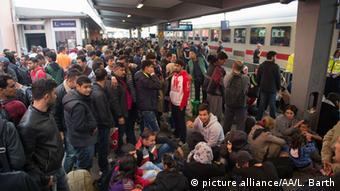 overcrowded train station