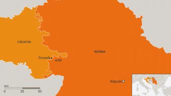Karte Serbien Kroatien Sid Tovarnik Grenzübergang Englisch