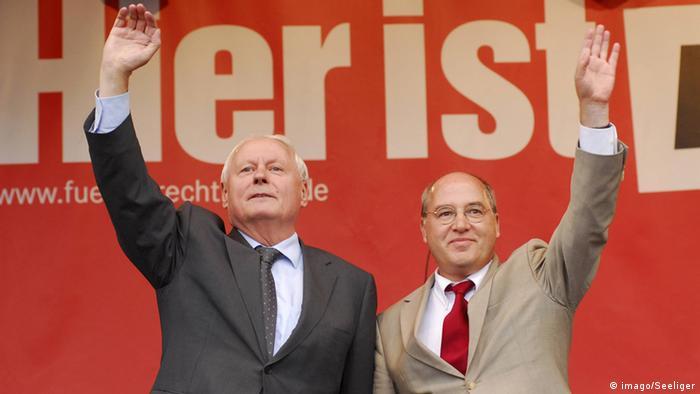 Gregor Gysi und Oskar Lafontaine im Bundestagswahlkampf 2009
