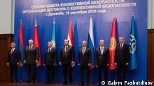 GUS Verteidigungsbund (ODKB), Sammit in Duschanbe, September 2015. Präsidenten Armenien, Weißrussland, Kasachstan, Tadjikistan, Russland, Kirgisien und Leiter der Organisation (von links nach rechts) *** Alle Rechte gehören DW Korrespondent Galym Fashutdinov und wurden freigegeben.