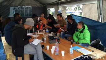 The school tent in the refugee camp in Brussel's Parc Maximilien