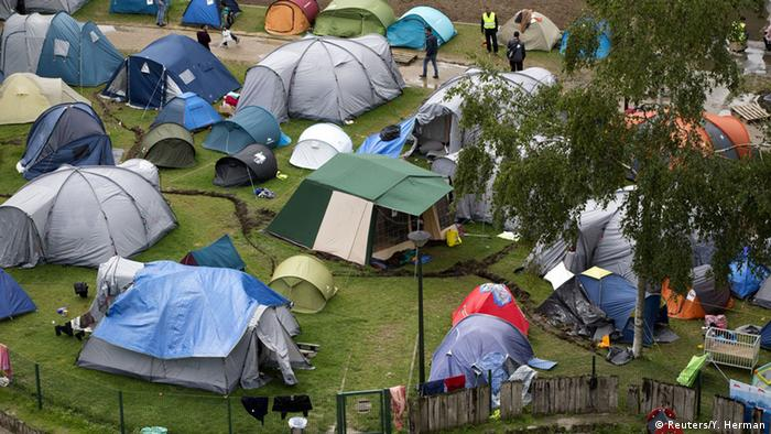 A makeshift refugee camp in Brussels' Parc Maximilien