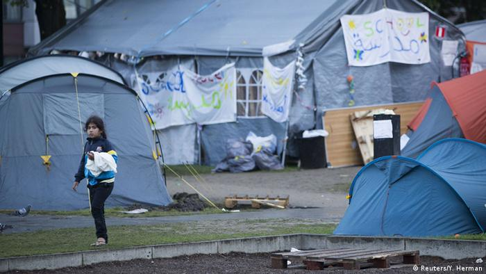 Makeshift tent camp in Parc Maximilien in Brussels