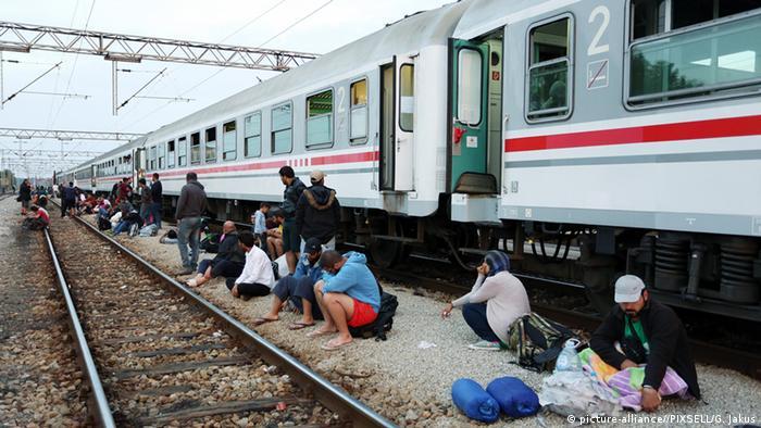 Refugees at Tovarnik station in Croatia