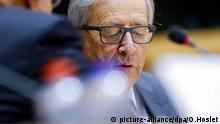 epa04934449 European Commission President Jean Claude Juncker attends an hearing by European Parliament's Special Committee on Tax Rulings and Other Measures Similar in Nature or Effect, in Brussels, Belgium, 17 September 2015. Along with discussing the Commissions proposals on taxation, media report that Juncker is under special attention for his alleged role in mass tax evasion by multinational companies during his time as Luxembourg prime minister. The issue had become public after publication of the so-called LuxLeaks documents. EPA/OLIVIER HOSLET +++(c) dpa - Bildfunk+++