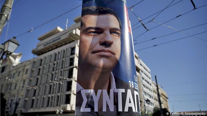 Griechenland Wahlen Wahlplakat mit Alexis Tsipras in Athen