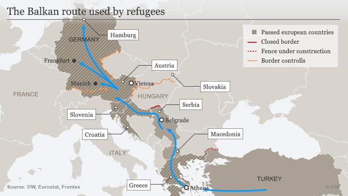 Karte Neue Balkan Fluchtroute Englisch