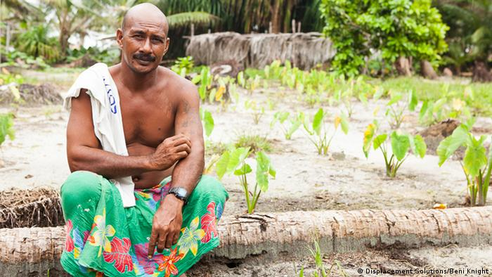 Patron Laliana in front of his taro garden on the island of Pelau in Ontong Java (Photo: Beni Knight)