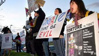 Demonstration gegen Google China in Kalifornien