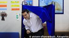 Griechenland Athen Wahlen Wahllokal Tsipras