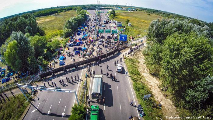 refugees at Serbian-Hungarian border