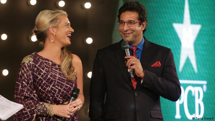 Pakistan Super League Launch Lahore PSL 1 Brand Ambassador of PSL Wasim Akram and his Australian wife Shaniera Thompson