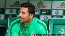 BREMEN, GERMANY - SEPTEMBER 19: Claudio Pizarro of Bremen reacts during the Bundesliga match between Werder Bremen and FC Ingolstadt at Weserstadion on September 19, 2015 in Bremen, Germany. (Photo by Martin Stoever/Bongarts/Getty Images)