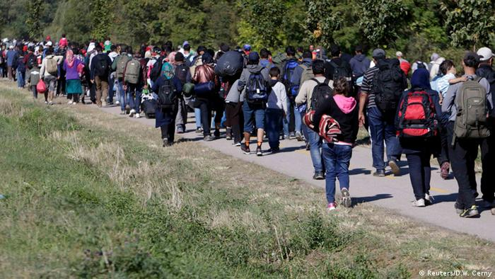 Refugees trudging through Hungary toward Austria and Germany