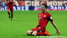 MUNICH, GERMANY - SEPTEMBER 22: Robert Lewandowski of Muenchen celebrates his team's second goal during the Bundesliga match between FC Bayern Muenchen and VfL Wolfsburg at Allianz Arena on September 22, 2015 in Munich, Germany. (Photo by Alex Grimm/Bongarts/Getty Images)