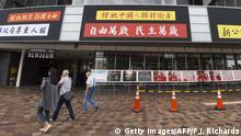 USA Newseum in Washington Protestbanner Pressefreiheit China