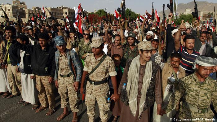 Huthi rebels in Sanaa