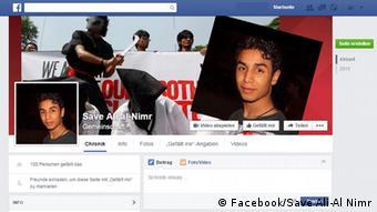Призыв в Facebook спасти Али аль-Нимра