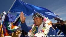 Evo Morales Flagge blau Bolivien