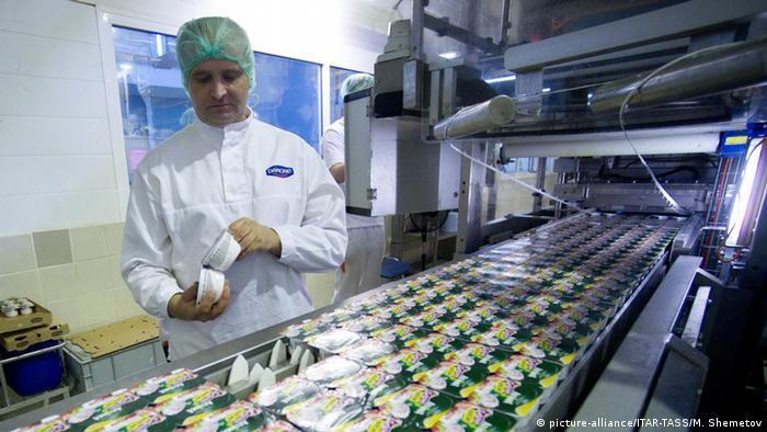 Производство йогуртов на подмосковсной фабрике Danone