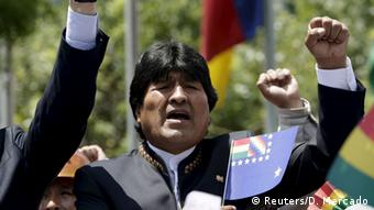 Bolivia's President Evo Morales sings the national anthem during a ceremony at Murillo Square