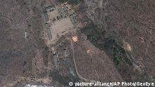 ARCHIV 2012 **** This April 18, 2012 satellite image provided by GeoEye shows North Korea's Punggye-ri nuclear test site. Commercial satellite imagery shows increased activity at North Korea¿s nuclear test site but not enough to indicate an underground atomic explosion is imminent, a U.S. research institute said Tuesday. North Korea last month threatened to conduct its fourth nuclear test and there¿s been speculation it may do so as President Barack Obama travels to Asia this week. (AP Photo/GeoEye)