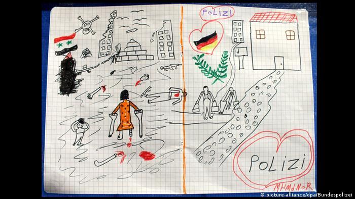 Deutschland Zeichnung des Krieges von einem Flüchtlingskind aus Syrien