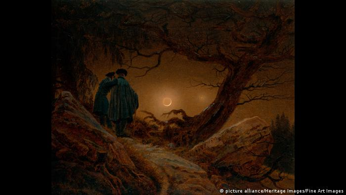 a painting with two men looking at the moon
