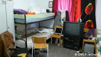 Zimmer im Flüchtlingsheim in Bornheim (Foto: DW/Wilhelm)