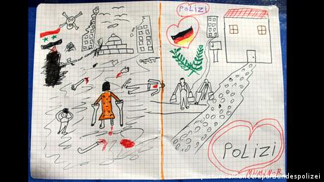 Bild das ein syrisches Flüchtlingskind gemalt hat (Foto: Bundespolizei/dpa)