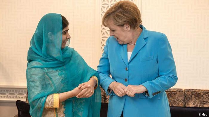 Malala with German Chancellor Angela Merkel