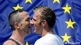 Gay couple in front of EU flag