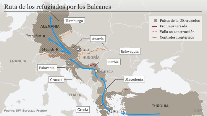 Infografik Flüchtlinge Balkanroute Spanisch