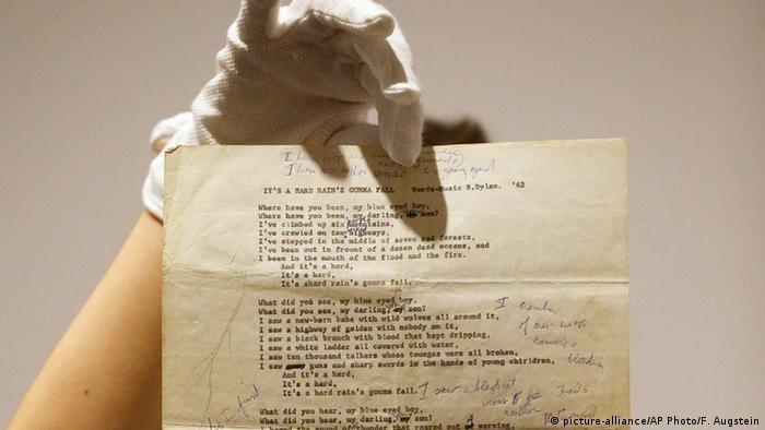 Sotheby's Versteigerung Bob Dylan Songtext