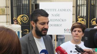 Kroatien Protest gegen Ölförderung in der Adria Luka Tomac Umweltaktivist (zelena-akcija.hr)