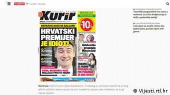 Screenshot der Website Vijesti.rtl.hr mit Cover der serbischen Zeitung Kurir (Foto: Vijesti.rtl.hr/DW)