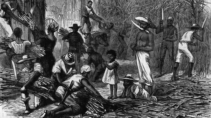 Esclavitud en el Caribe.Grabado de 1880.