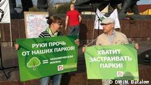Protestaktion gegen Vernichtung von Parks in Moskau