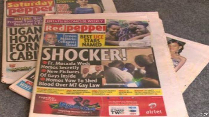 The front pages of several Ugandan tabloids with sensationalist headlines about gay people. Copyright: DW