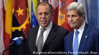 Сергей Лавров и Джон Керри на встрече ближневосточного квартета в 2015 году